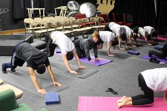 Boys enjoy lunchtime yoga classes