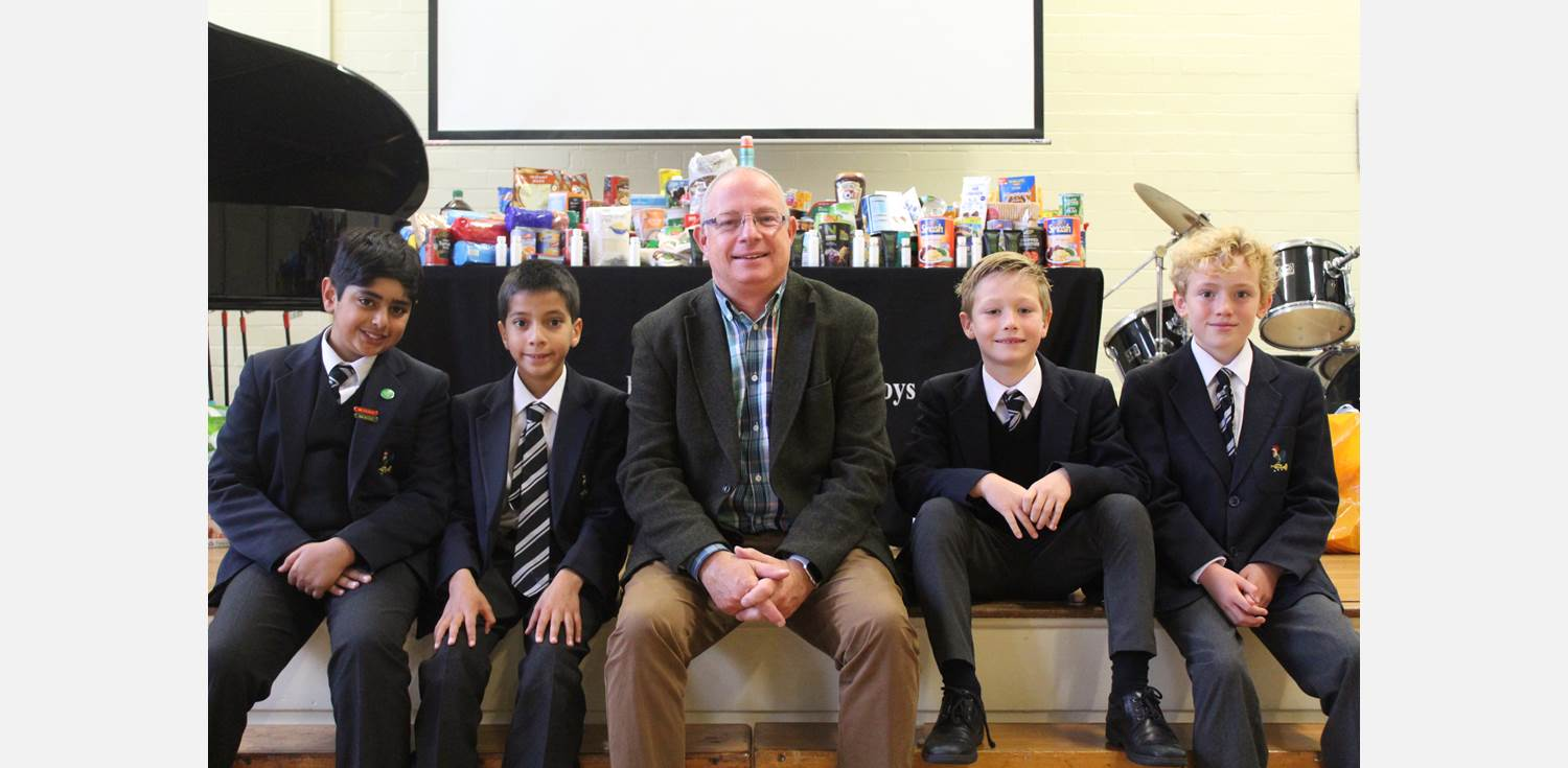 Harvest Assembly boys with Dave Bagley