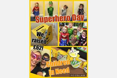 Collage: Children dressed as superheroes including Wonder Woman, Green Lantern and a police officer and individually coloured Pudsey headbands. Text over the images reads, Superhero Day, We raised £62! Children in Need