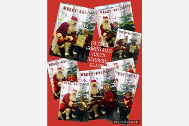 Collage of photos of children receiving presents from Father Christmas