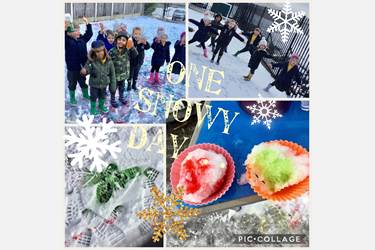 Collage: photos of children enjoying the snow, coloured snow and footprints. Text reads: One Snowy Day
