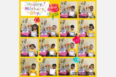 Collage: children holding artwork created for their Mums for Mothers' Day