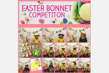 Collage of children wearing their Easter Bonnets