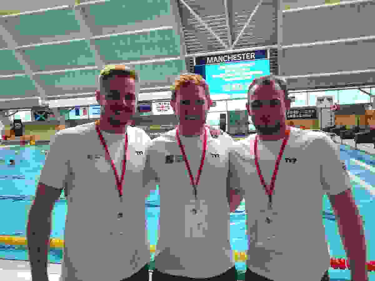 ENG v SCO water polo exhibition match - OBs Lewis Daly, Ed Grundy (SCO captain), Aaron Winstanley.jpg