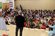 World Book Day 2020 Rob Biddulph assembly back