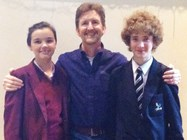 Mark with two of the pupils who attended his lunchtime talk in the Arts Centre