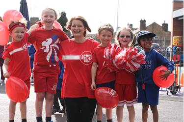 Mrs Marshall and some of her form that took part in the Sport Relief assembly