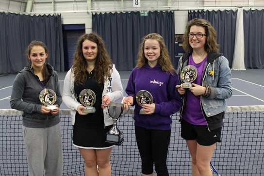 Lisa Burtonwood, Natasha Lomas, Lulu Morley and Hattie Morley, Lancashire County U18 Doubles' Winter League winners representing Tyldesley