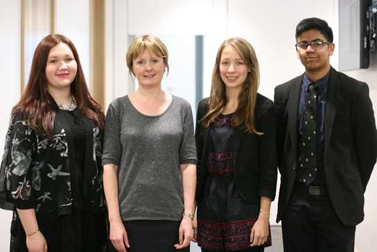 Francesca Fernside, Lizzy Moore and Ilyas Ibrahim are photographed with Professor Jackson