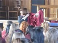 Mrs Haslam shows the girls a Prefect