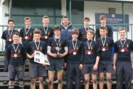 Tournament winners, Kirkham Grammar School, photographed with Hendre Fourie and their medals